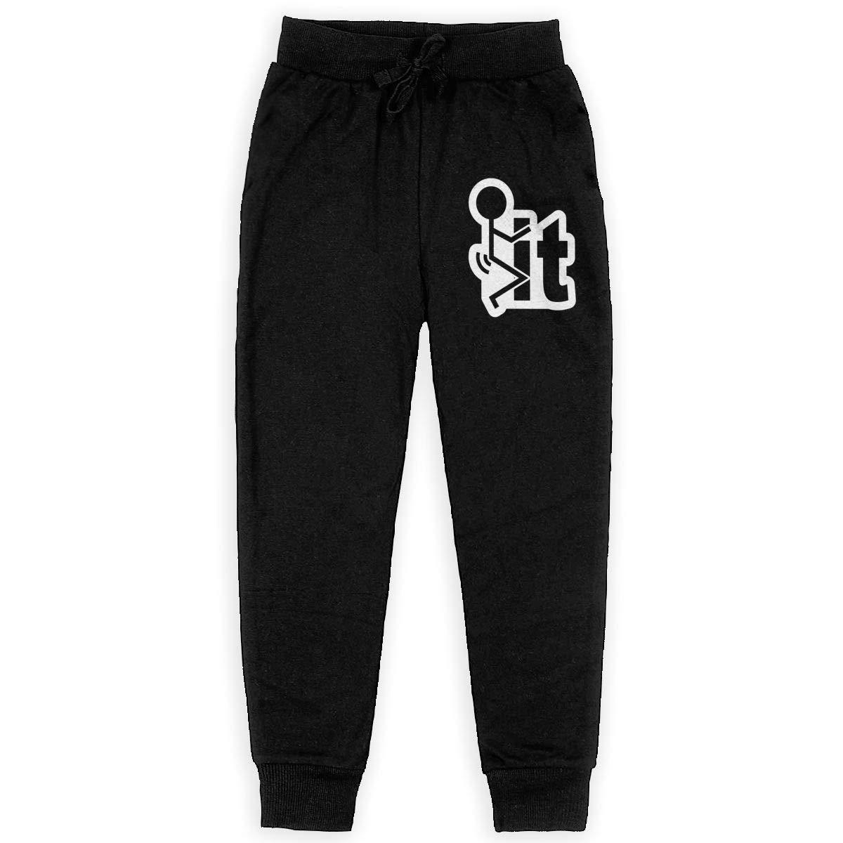 Dunpaiaa Fuck It Boys Sweatpants,Joggers Sport Training Pants Trousers Black