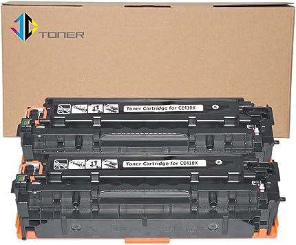 2 Pack CE410X Black Toner Cartridge For HP LaserJet Pro 400 color M451dn Printer