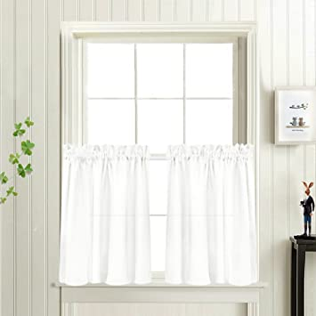 Privacy Thick Tiers Kitchen Curtains Semi Sheer Cafe Casual Weave Textured Half Window Curtain