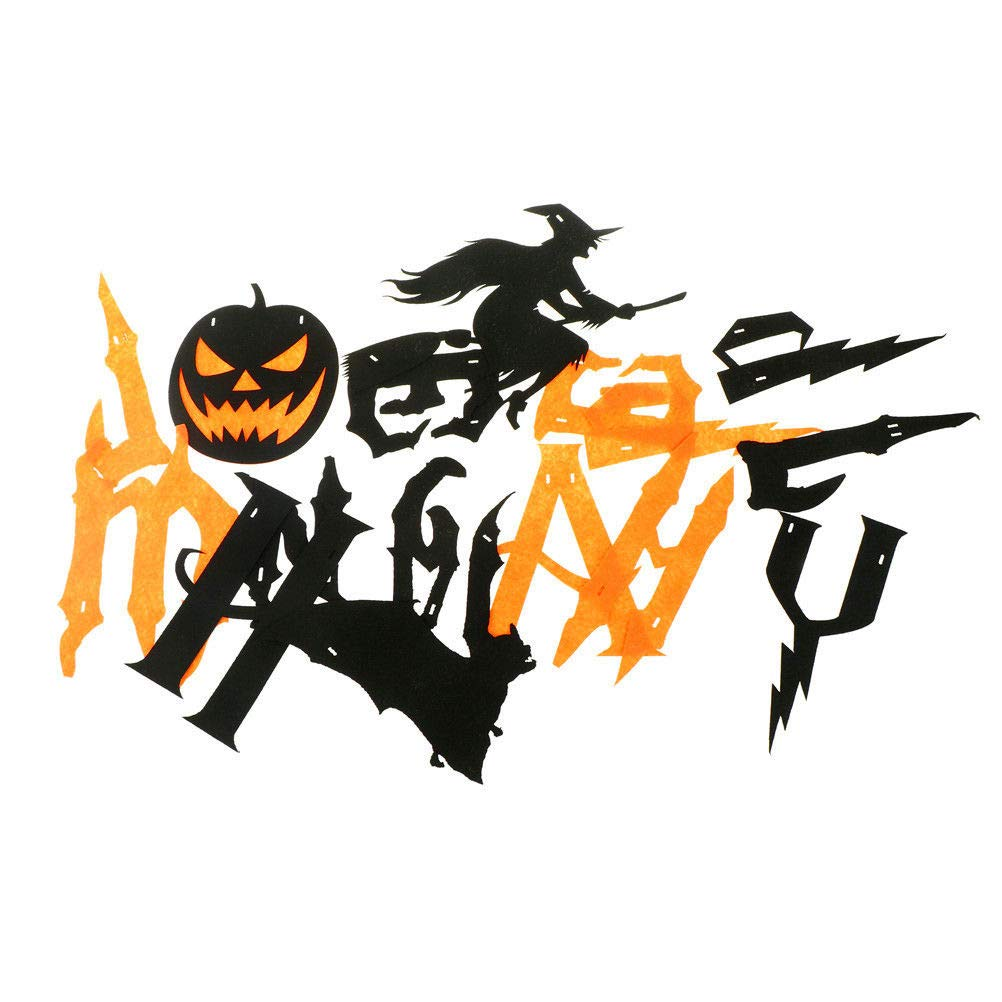 Happy Halloween Banners, Pumpkin Witch Bat Bunting Indoor Outdoor Bedroom, Fireplace, Garden Halloween Party Decorations (Black and Orange Halloween Banners)