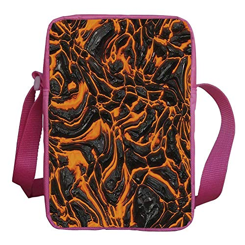 Volcano Stylish Kids Crossbody Bag,Vibrant Lava Flow Texture Image Combustion Dangerous Molten Magma Decorative for Girls,9