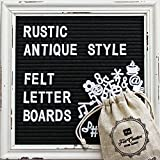 #10: Black Felt Letter Board with Rustic White Wood Vintage Frame and Stand by Felt Creative Home Goods | 10x10 Inch Antique Changeable Message Board Includes 340 White Alphabet Letters, Numbers, Emojis