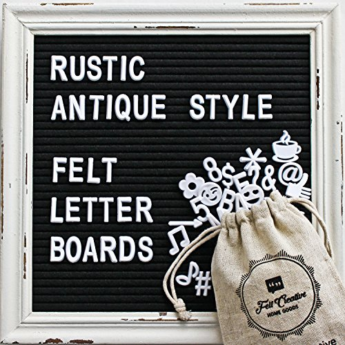 Black Felt Letter Board with Rustic White Wood Vintage Frame and Stand by Felt Creative Home Goods | 10x10 Inch Antique Changeable Message Board Includes 340 White Alphabet Letters, Numbers, (Board Material)