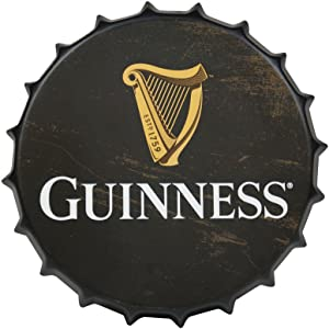 Guinness Vintage Aluminum Bottle Cap Sign (Black) - Metal Wall Decor