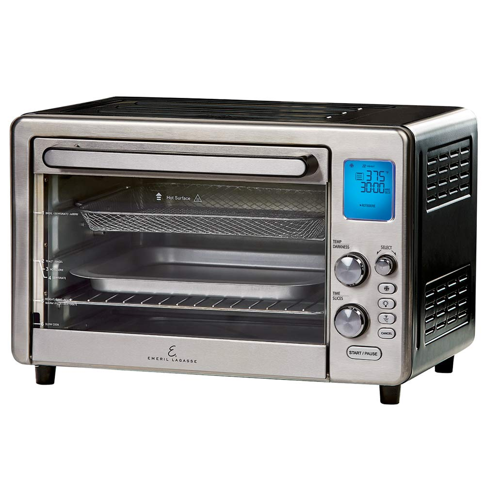 Emeril Lagasse Power Air Fryer 360 XL FAMILY SIZED Better Than Convection Ovens Replaces a Hot Air Fryer Oven, Toaster Oven, Rotisserie, Bake, Broil, Slow Cook, Pizza, Dehydrator & More. Emeril Cookbook. Stainless Steel. (XL 15.6'' 19.7'' x 13'') by Emeril Everyday