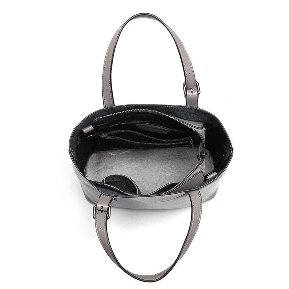 Color : Gray, Size : OneSize ALLHM Genuine Leather Women Top Handle Spring and Summer Satchel Handbag Tote Shoulder Bag Purse Bag Crossbody Bag Designer