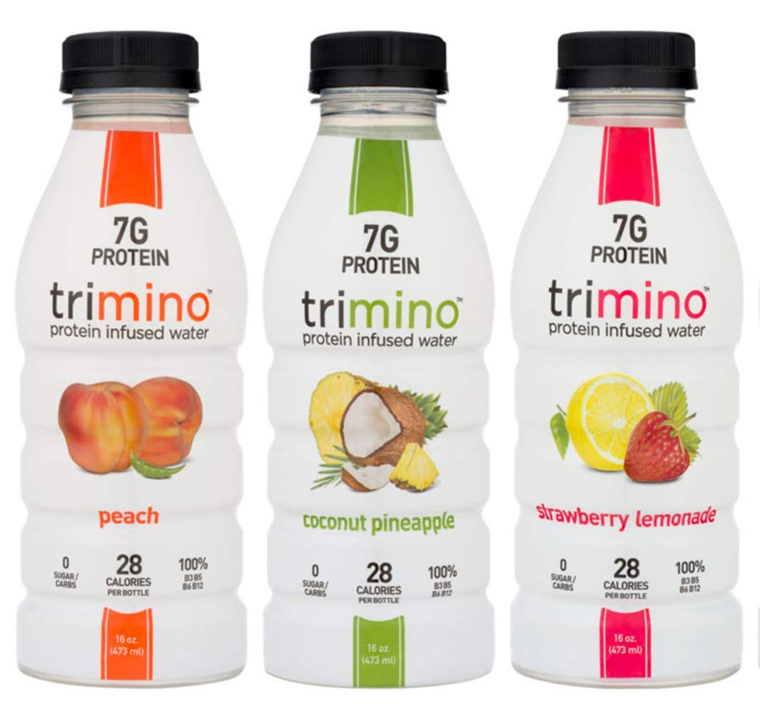 Trimino Protein Infused Water, 3-Flavor Variety Pack, 16 Ounce (Pack of 12) by Trimino