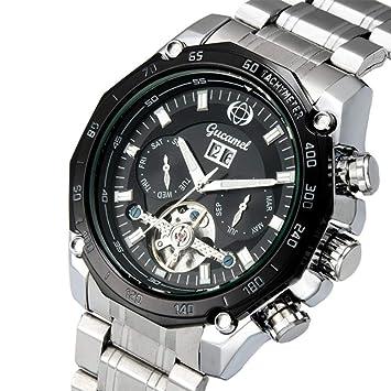 L.HPT Mens Watch Relojes mecánicos automáticos Impermeable Calendario de Acero Inoxidable Reloj de la Fase Lunar Moda Casual Esqueleto Reloj Tourbillon,C: ...