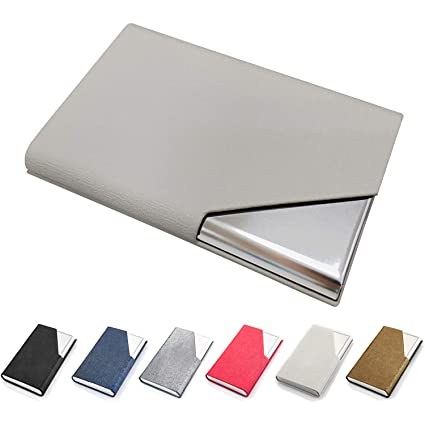 Amazon business card holder luxury pu leather stainless business card holder luxury pu leather stainless steel business card case wallet credit card id reheart Image collections