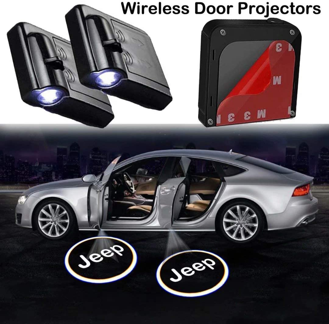LED Car Door Projector Welcome Lights,Wireless Car Door Led Projector Lights for Jeep All Models 2Pcs for Jeep Car Door Lights Logo Projector