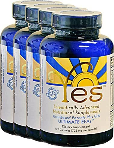 Yes Parent Essential Oils ULTIMATE EFAs 120 Capsules (4 Pack), Based On The Peskin Protocol, Plant Based Organic Oils, Omega 3 6, Vegetarian, Keto Friendly (Reduces Carb Cravings)