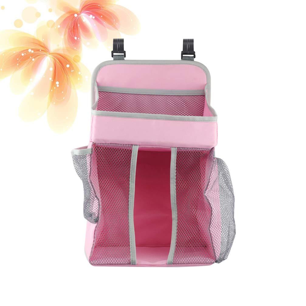 Pink TOPBATHY Hanging Diaper Organizer Baby Hanging Diaper Stacker Nursery Caddy Bag for Baby Nursery Crib Storage