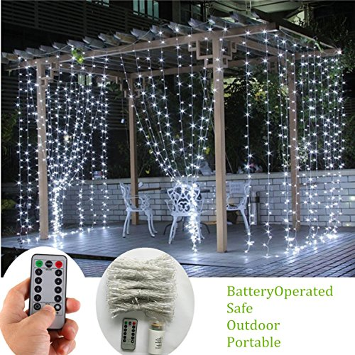 Battery Operated Curtain String Lights,300 LED Icicle Window Background Fairy Lights [Remote,8 Mode,Timer,9.8 ft ×9.8 ft, Dimmable,] Decoration Lights for Outdoor Wedding,Camping,RV,BBQ - Cool White Wedding Tent Decorations