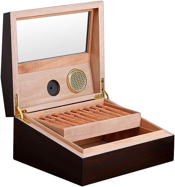 FLOUREON Humidificador de Cigarros, Humidor Caja para Cigarros con Higrómetro de Madera, Capacidad 50-60 Cigarros, Elegante y Moderno Accesorio para Cigarros: Amazon.es: Hogar