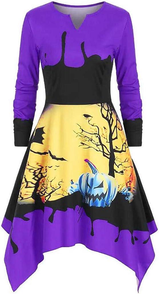 Reooly Falda de Halloween Vestido de Borla Irregular de Manga Larga con Volantes a Cuadros de la Cintura a Cuadros de Gran tama/ño Mujer
