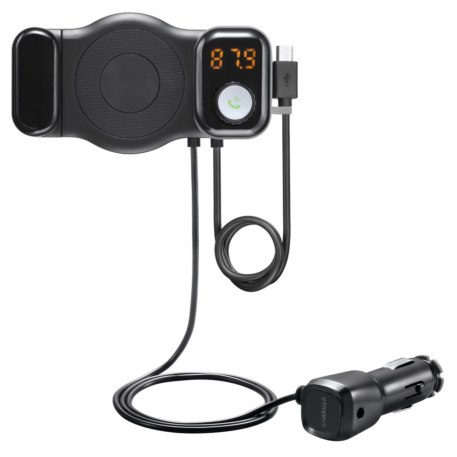 New Bluetooth FM Transmitter, Showerstar123 Wireless in-Car FM Transmitter Radio Adapter and Car Phone Mount with USB Car Adapter Handsfree Car Kit - Black
