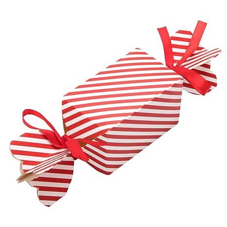 50 cajas de regalo navidad con 100 piezas de cuerda, cajas papel caramelo juego decorativa