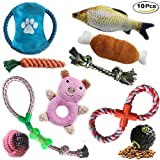Kathson Dog Toys 10 Pack Gift Set Balls Ropes Chew Squeaky Cotton Plush Pet Dog Teething Training Play Toys Flying Discs for Small Medium Large Dogs - Keep Pets Happy and Healthy