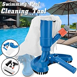 MMIRAG Portable Pool Vacuum Jet Underwater Cleaner W/Brush Bag, Mini Jet Vac Vacuum Cleaner to Clean Leaves & Other Debris for Spa, Pond and Hot Tub (Black)