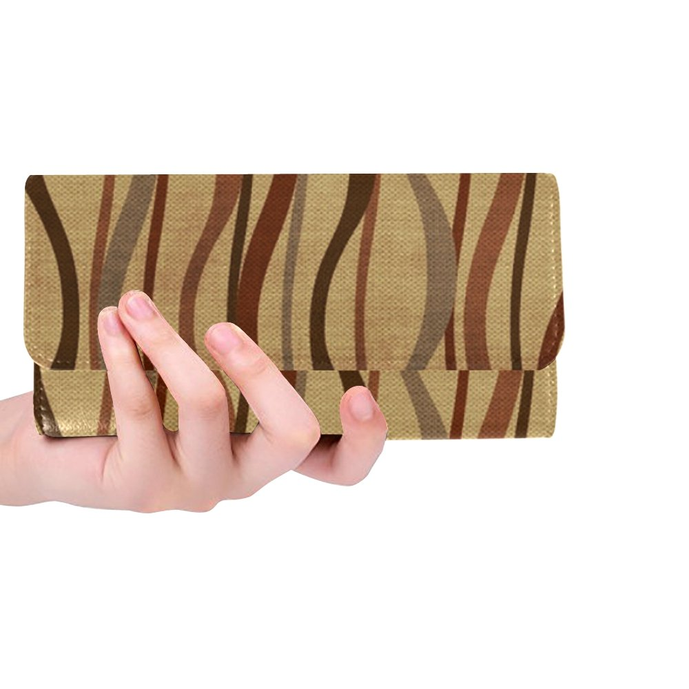 Unique Custom Structure Brown Abstract Women Trifold Wallet Long Purse Credit Card Holder Case Handbag by MOVTBA