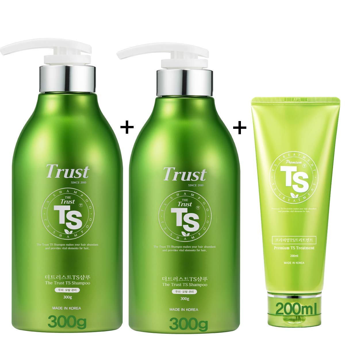 TS Shampoo Promotion Set [ The Trust Shampoo 300ml (10 oz) x 2ea, Premium TS Treatment 200ml (6.76oz) ], Top Selling Hair Loss Prevention Shampoo from Korea
