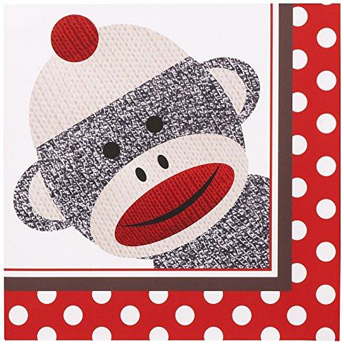 Birthday Express Sock Monkey Party Supplies - Lunch Napkins (20) (Sock Plates Monkey)