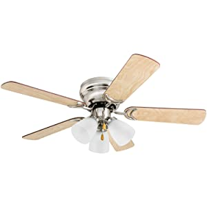 """Prominence Home 50863 Whitley Hugger Ceiling Fan with 3 Light Fixture, 42"""" LED Indoor Low-Profile/Flush-mount, Satin Nickel"""