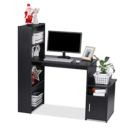 Magnificent Lv Life Computer Desk Student Pc Workstation Laptop Table And Storage Unit Combo Ideal Desktop For Any Size Computers And Laptops Black Download Free Architecture Designs Scobabritishbridgeorg