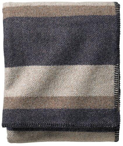 Pendleton Eco-Wise Easy Care Blanket, Twin, Midnight Navy Stripe