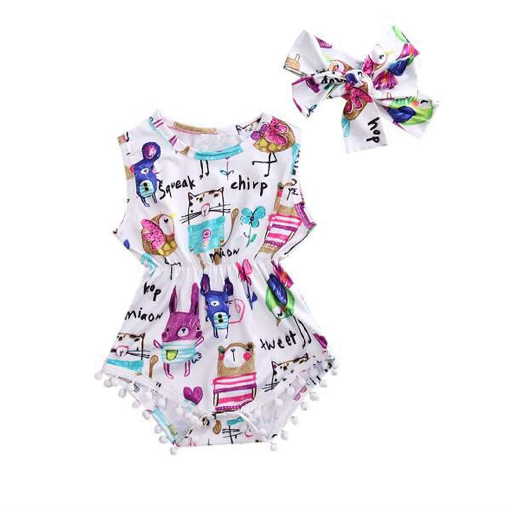 NUWFOR Toddler Baby Sleeveless Shell Cartoon Animal Romper+Headbands Set Outfit(Multicolor,6-12Months)