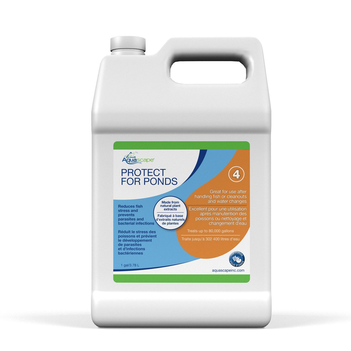 Aquascape PROTECT Water Treatment Koi and Fish Ponds, All-natural Formulation Effectively Reduces Fish Stress and Promotes Fish Health,  1 gallon / 3.78 L  96072 by Aquascape