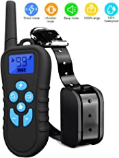 LINNSE Shock Collar for Dogs, Dog Training Collar with 1500 Remote Control Waterproof and Rechargeable Dog Shock Collar with Remote for Dogs