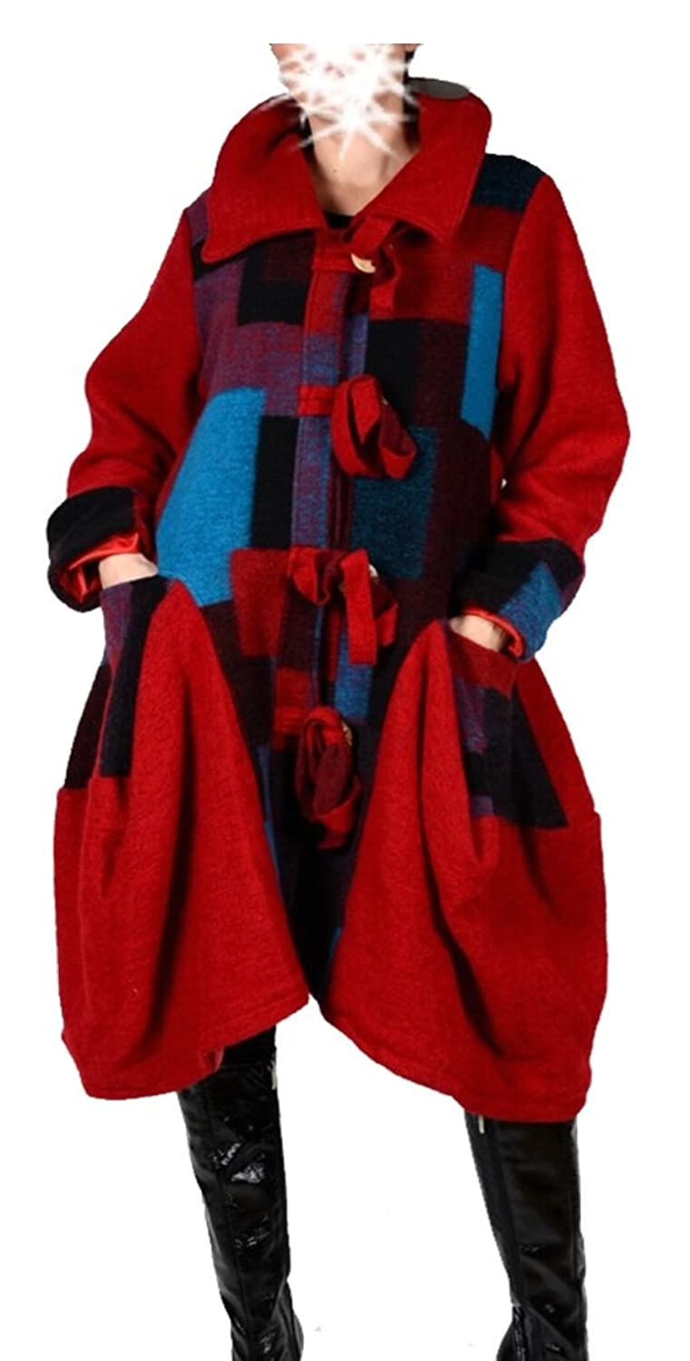 Damen Wolle Wintermantel Mantel Lagenlook Patchwork 42 44 46 48 50 M L XL XXL Warm Trench Coat Rot