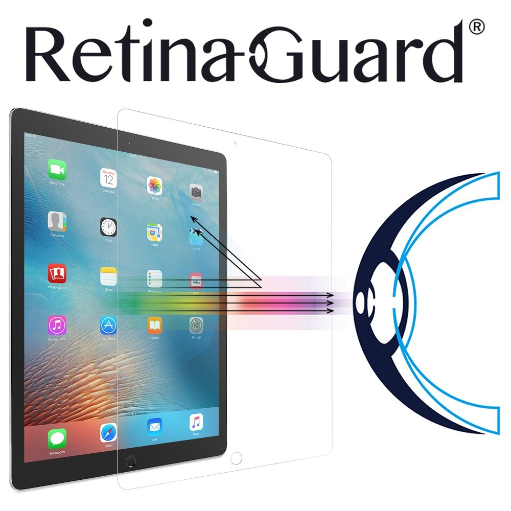 RetinaGuard Anti-UV, Anti-blue Light Tempered Glass Screen protector for iPad Pro 12.9'' - SGS & Intertek Tested - Blocks Excessive Harmful Blue Light, Reduce Eye Fatigue and Eye Strain
