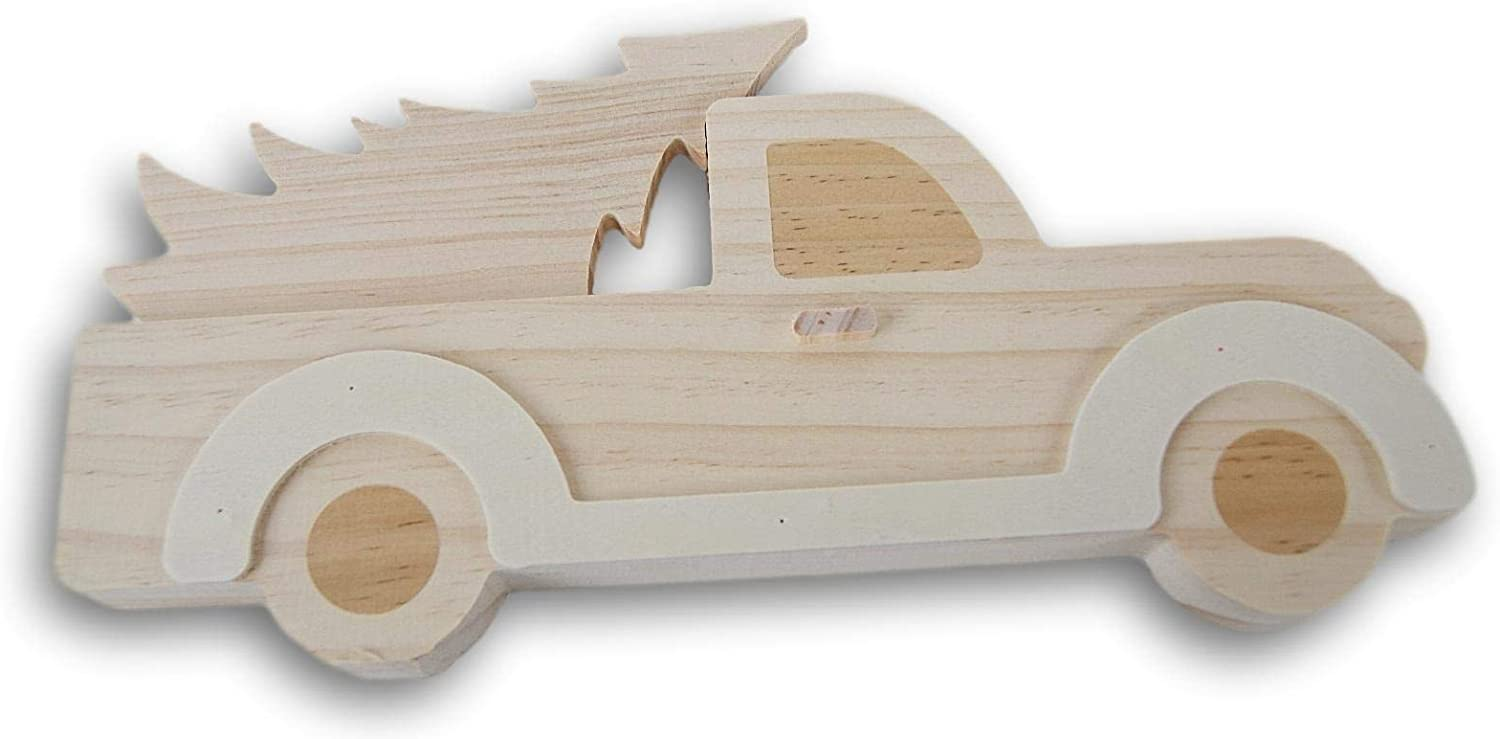 Daisy Crafts Christmas Shaped Unfinished Wood Truck Carrying Christmas Tree Cutout 11 Inches Long