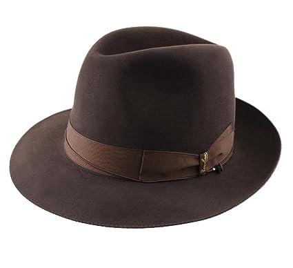 Borsalino Folar Como Leather Fedora Hat at Amazon Men s Clothing store  90f99cca0e71