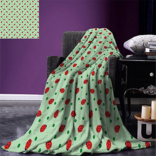 smallbeefly Ladybugs Throw Blanket Traditional Polka Dots Background Abstract Cute Ladybug Insects Fun Design Warm Microfiber All Season Blanket for Bed or Couch Green Red Black