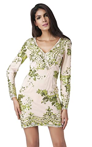 Women's Sexy V-neckline Long-sleeve Paillette Dress XXL Green
