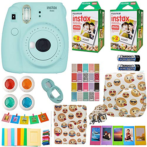 Fujifilm Instax Mini 9 Instant Camera Blue + Fuji Instax Film Twin Pack (40PK) + Emoji Camera Case + Frames + Photo Album + 4 Color Filters More Top Accessories Bundle