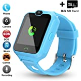 [Updated 2019 Version] Smart Watch for Kids Include [16GB Micro SD Card] Watch Phone with [Camera] [Games] [Alarm] [SOS Touch Screen] Nice Gift for Girls and Boys (Blue)