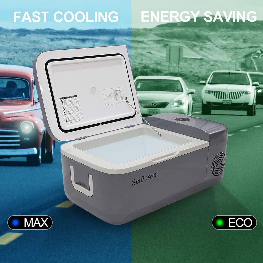 Car Fridge Compact Refrigerator Van FC12+AC Adapter Camping Setpower FC12 Portable Freezer Fridge 12V Cooler RV Road Trip Outdoor AC 110-240V BBQ Picnic DC 12//24V 0℉-50℉ for Truck