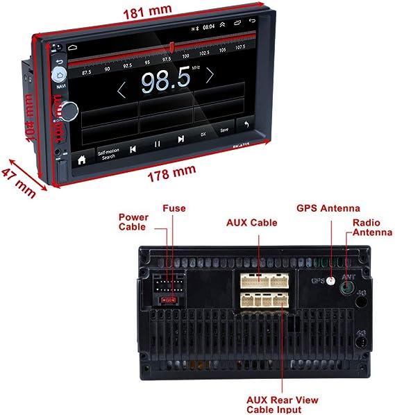 Android Coche Radio 2 DIN GPS CAMECHO 7 Pulgadas Pantalla táctil capacitiva Bluetooth WiFi USB SD AUX FM Reproductor de automóvil Estéreo Enlace de ...