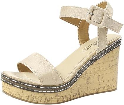 ❤Sandales Compensées Femme,Xinan Sandales Talon Compensé Chaussures Tongs Sandales Talons Hauts Peep Toe Basses Chaussures Sandales Romaines Nouveau