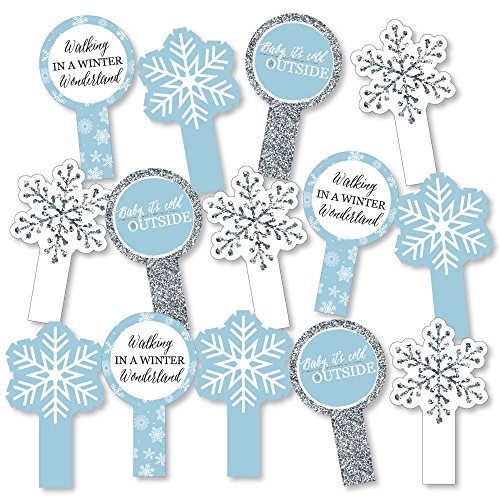 Big Dot of Happiness Winter Wonderland - Snowflake Holiday Party & Winter Wedding Party Paddle Photo Booth Props - Selfie Photo Booth Props - Set of 14
