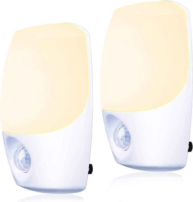 Plug in LED Night Light Ultra Slim UL Listed 2 Pack Dusk to Dawn Sensor Emotionlite Nightlights for Bedroom Hallway Kitchen Stairways Corridor Bathroom,Warm White