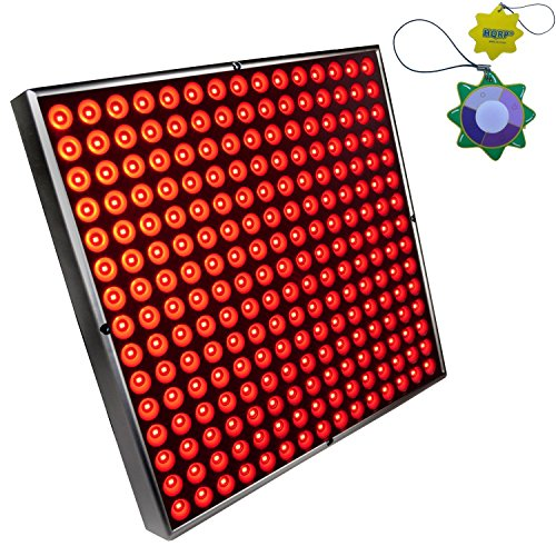 """HQRP 12"""" x 12"""" Square High-Power 45W 225 LED Red Grow Light System/Panel plus Hanging Kit + HQRP UV Meter"""