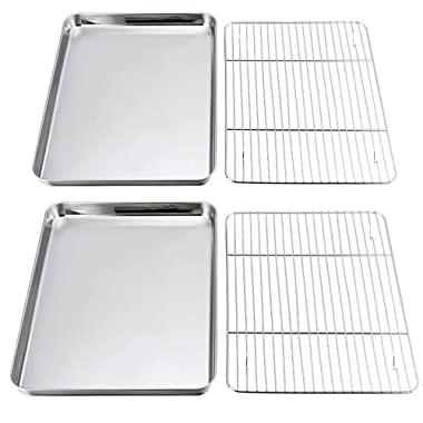 Baking Sheet and Rack Set, 4 PACK (2 Sheets + 2 Racks), P&P CHEF Stainless Steel Baking Pans Cookie Tray with Cooling Rack, Rectangle 16''x12''x1'', Non Toxic & Healthy, Mirror Polish & Easy Clean