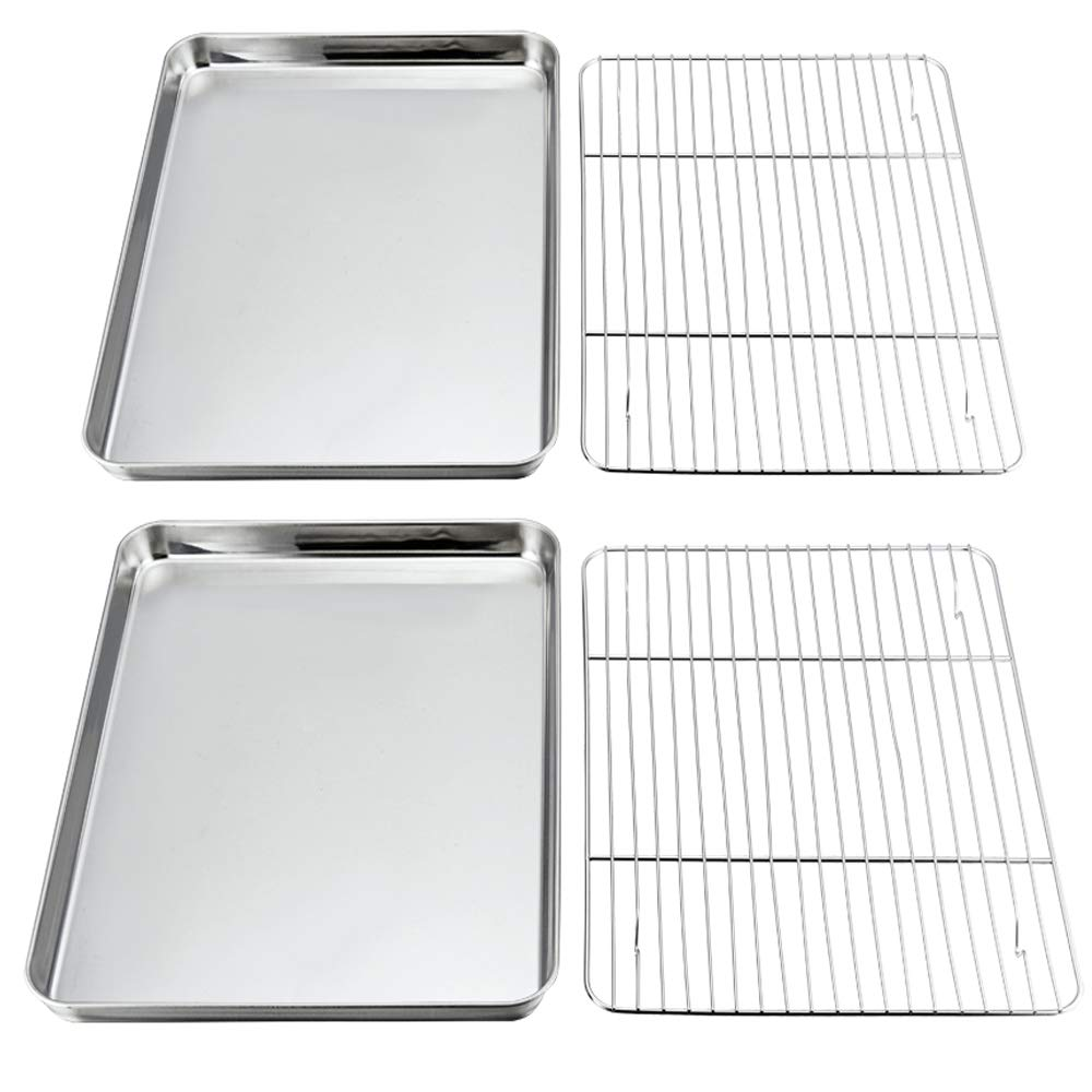 P&P CHEF Baking Sheets and Rack Set, Pack of 4 (2 Sheets + 2 Racks), Stainless Steel Baking Pans Cookie Tray with Cooling Rack, Rectangle 16''x12''x1'', Non Toxic & Healthy, Mirror Polish & Easy Clean