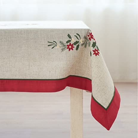 antuen embroidered christmas tablecloth square cotton linen dining tablecloth cover for holiday party white 55x55 - Square Christmas Tablecloth