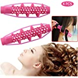 Hair Rollers, 4Pcs Salon Hairdressing Curlers, Spiral Curling DIY Tool, Hairdressing Styling Rods DIY Hair Tool, No Heat…